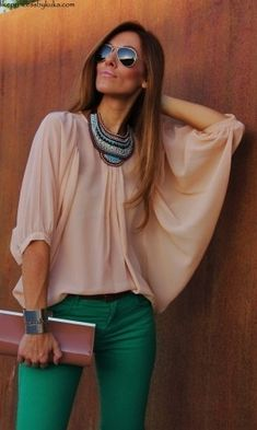 Green jeans, tan top, statement necklace