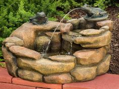 Two frogs at a stone well make the Rana Outdoor Fountain a prince of a garden decoration. This fun fountain is made of resin and fiberglass with a realistic. Outdoor Drinking Fountain, Patio Water Fountain, Water Fountain Design, Home Fountain, Outdoor Wall Fountains, Diy Garden Fountains, Water Fountains, Fountain Ideas, How To Make Water