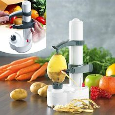 😍Stainless Steel Electric Fruit Peeler,No more messing with manual peelers! With the Electric Fruit Peeler there's no waste! Peeling is quick and easy with the Electric Fruit Peeler. Cool Kitchen Gadgets, Kitchen Items, Kitchen Utensils, Cool Kitchens, Kitchen Appliances, Kitchen Gifts, Cooking Gadgets, Cooking Tools, Hacks Cocina