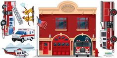 Create-A-Mural -  Fire Station Mural, $97.00 (http://www.create-a-mural.com/fire-station-mural.html)