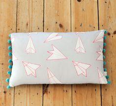Planes Pom Pom Trim Rectangular Cushion by sparrowandwolfshop, £38.50
