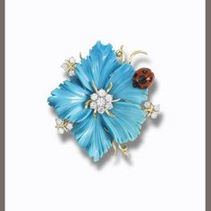 turquoise and gem-set brooch