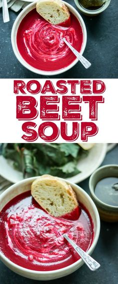 This gorgeous beet soup is so quick and easy - just roast some veggies, simmer with broth, then puree and serve topped with LOTS of sour cream!