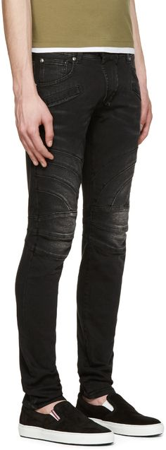 1b4d86af Pierre Balmain Black Slim Faded Biker Jeans Balmain Clothing, Balmain Jeans,  Biker Jeans,