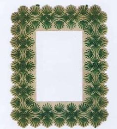 Antique Vintage Punchwork Frame, Green Yarn Stitch Embroidery on Perforated Paper, 19th Century Victorian Christmas Pine Needle Bough Motif