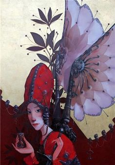 red - woman - wings -  Nemesis - Merab Gagiladze - painting