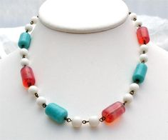 Vintage Pink Glass Bead Necklace Poured Milk White Turquoise Blue Opalescent | eBay