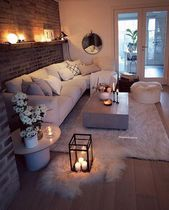 Cozy Living Room For Your Home - Living Room Design Living Room Decor Cozy, Living Room Interior, Home Living Room, Apartment Living, Bedroom Decor, Living Room Brick Wall, Cosy Cottage Living Room, Cosy Home Decor, Living Room Candles