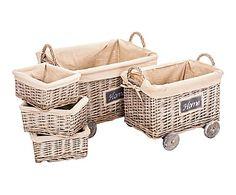 Set de 5 cestas en mimbre y lino