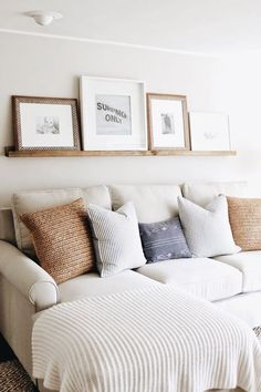 pictures above couch home decor / pictures above couch . pictures above couch layout . pictures above couch ideas . pictures above couch home decor . pictures above couch farmhouse . pictures above couch family Cozy Living Rooms, Home Living Room, Apartment Living, Living Room Designs, Apartment Ideas, Barn Living, White Couch Living Room, Coastal Living, Living Room Decor Blue And Brown