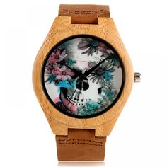 Cheap gift gifts, Buy Quality gift creative directly from China gift women Suppliers: Cool Skull Flower Quartz Women Watches Nature Wood WristWatch Creative Genuine Leather Band Watch 2017 New Fashion Clock Gift Trendy Mens Watches, Watches For Men, Women's Watches, Analog Watches, Minimalist Clocks, Wooden Man, Steampunk Watch, Flower Skull, Skeleton Flower
