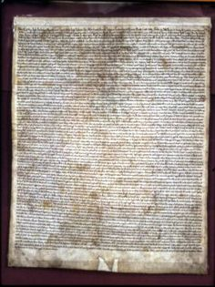 The original copy of Magna Carta in the Chapter House of Salisbury Cathedral