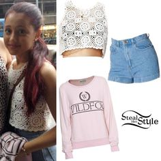 steal her style ariana grande Ariana Grande Outfits, Ariana Grande Fans, Casual Outfits, Summer Outfits, Cute Outfits, Cat Valentine Outfits, Summer Crop Tops, Her Style, My Outfit