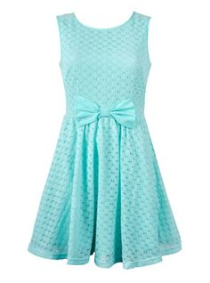 COTTON LACE BOW FRONT DRESS - Ally Fashion