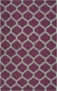 Flatweave wool rug in gray and raspberry. From the Frontier Collection by Surya (FT-115)