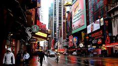 дождь, starbucks, нью йорк, люди, небоскреб, new york, manhattan