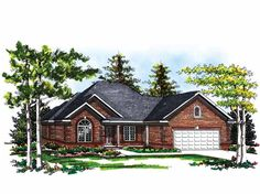 Home Plan HOMEPW01828 - 1771 Square Foot, 2 Bedroom 2 Bathroom Ranch Home with 2 Garage Bays | Homeplans.com