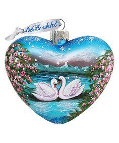 Swan Glass Heart Ornament #zulily #zulilyfinds