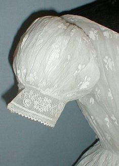 Detail of short sleeve Civil War Era sheer gown.
