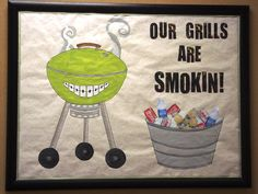 """This was a summer contest where we gave away a portable LIME GREEN (love) grill and I love to tie grills & smiles together. (Nelly's """"Grillz"""" is even my ringtone for my orthodontist boss) I'm sure a more artistic person could have done the smoke way better, but it met our needs."""