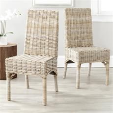 Safavieh FOX6519A-SET2 Set of 2 Beacon Side Chair in Natural Unfinished