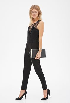 F21 Floral Lace-Yoke Jumpsuit - Forever 21 Contemporary - With a floral lace yoke atop a sweetheart lapel-like neckline and a keyhole back, this woven jumpsuit flawlessly fuses menswear-inspired and classically femme details. The result is an unexpectedly cool combination that will make this sleeveless piece a favorite for work and weekends alike.