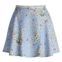 Chicwish Whimsical Flowers A-line Paneled Skirt in Sky Blue ❤ liked on Polyvore featuring skirts, a line skirt, short a line skirt, flower skirt, short skirts and knee length a line skirt