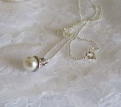 Single Pearl Necklace is perfect for the bride or bridesmaid by Keepsakes By Katherine