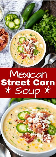 This Mexican Street Corn Soup has all the flavors you love from Mexican street corn all bundled up into one comfort food soup that is to die for! Who else loves Mexican street corn? I know I do! Chili Recipes, Mexican Food Recipes, Dinner Recipes, Ethnic Recipes, Corn Soup Recipes, Barbecue Recipes, Grilling Recipes, Macedonian Food, Cooking Recipes