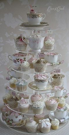 Cute cupcake set-up for weddings/parties. Use vintage tea-cups mixed in with the cupcakes. Cotton And Crumbs, Afternoon Tea Parties, High Tea Parties, Afternoon Tea Baby Shower Ideas, Tea Party Bridal Shower, Baby Shower Tea, Bridal Showers, Tea Sandwiches, Finger Sandwiches