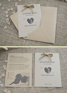 12 Rustic Kraft 'Save the Date' Cards by adrimdesign on Etsy