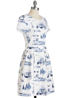 New Quirk City Dress. Come one, come all, to view this cotton frocks cute twist on toile! #white #modcloth