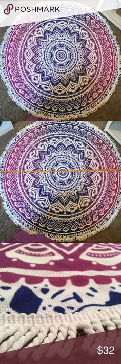 ☀️🌸 BEACH BLANKET 🌸☀️ brand new!!! super cute beach blanket!!! never used! and super beautiful colors! fringe edges! soft! perfect for a summer vacation, festivals or even senior week!!!  it's 60inches in diameter! have any questions feel free to ask away!! comes from a smoke free home! :) Swim