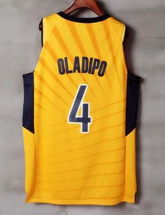 0288774781e212 Men 4 VICTOR OLADIPO Jersey Yellow Gold Indiana Pacers Jersey Player