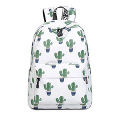 Women Stylish Cactus Printing Backpack Canvas Backpacks for Teenage Girls School Bag Green Backpack Big Travel mochila escolar Outfit Accessories From Touchy Style. Green Backpacks, Boys Backpacks, Canvas Backpacks, Leather Backpacks, Leather Bags, Cactus Backpack, Laptop Backpack, Laptop Bags, Travel Backpack
