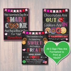 Set of 3 Valentine's Day Cookie Booth Signs, Printable Girl Scouts Cookie Posters, Cookie Fundraiser, Girl Scout Troop Cookie Sales Goals Scout Mom, Girl Scout Troop, Girl Scouts, Valentines Day Cookies, Valentine Gifts, Gs Cookies, Personalized Cookies, Binder Organization, Cute Signs
