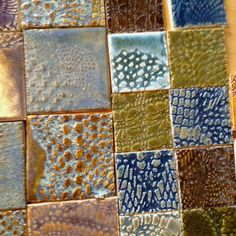 Handmade tile with impressions