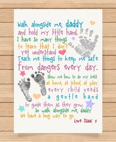 From Personalised Presents Gifts For Daddy Dad Father From Son Daughter Newborn Toddler Kids Poem First Fathers Day Birthday Christmas Xmas Walk Alongside Me Daddy Poem Prints Posters Wall Art fathersdaypoems Daddy Poems, Fathers Day Poems, First Fathers Day Gifts, Fathers Day Crafts, Best Gifts For Dad, Fathers Day Poster, Fathers Day Messages, Birthday Presents For Dad, Dad Birthday Card