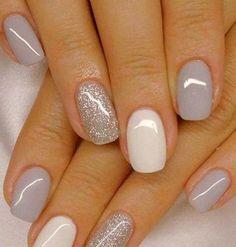 Fascinating white and gray nail polish to try - Nageldesign - Nail Art - Nagellack - Nail Polish - Nailart - Nails - Nägel Design Grey Gel Nails, Grey Nail Polish, Glitter Gel Nails, Acrylic Nails, Coffin Nails, Accent Nails, Gold Nail, Neutral Nails, White Polish