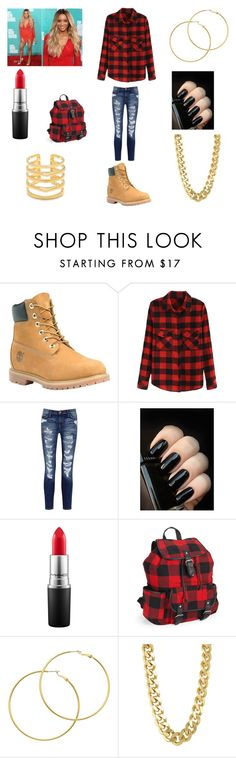 """""""Hanging out with friend outfit"""" by zayanajacqueeswifey ❤ liked on Polyvore featuring Timberland, Current/Elliott, Balmain, MAC Cosmetics, Aéropostale, Melissa Odabash, CC SKYE and Stella & Dot"""