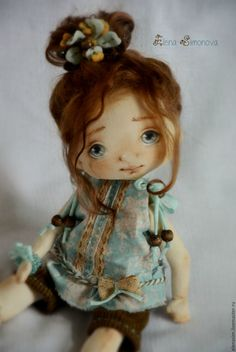 Купить Олеся - бирюзовый, коллекционная кукла, интерьерная кукла, кукла на заказ, авторская ручная работа