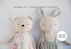 Bunny & Teddy Digital Sewing Pattern plus Video Tutorial Boys Sewing Patterns, Doll Patterns, Clothes Patterns, Sleeping Bunny, Fabric Markers, Gift Tags Printable, Stuffed Toys Patterns, Sewing Projects, Crafting