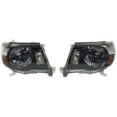 2005-2008 Toyota Tacoma Clear Head Light, Lens And Housing, Black Interior
