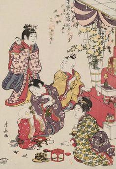 Doll Festival. Ukiyo-e woodblock print, 1801, Japan, by artist Torii Kiyonaga