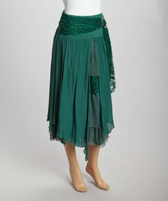 Loving this Dark Turquoise Lace Linen-Blend Peasant Skirt on #zulily! #zulilyfindsBut they have GOT to get more of these in!