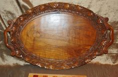 VINTAGE BLACK FOREST WOOD CARVED OVAL SERVICE TRAY w/ FLOWERS & GRAPES MOTIF #