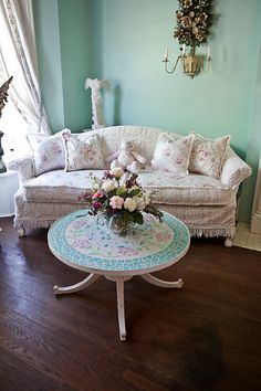 shabby chic sofa couch slipcover ed vintage chenille bedspread roses cottage vintage white pink aqua