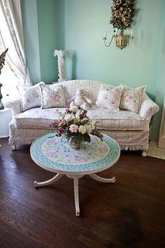 shabby chic sofa camel back slipcover ed vintage chenille bedspread roses cottage vintage white pink aqua via Etsy