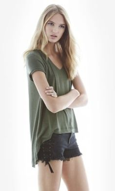 olive one eleven hi-lo hem tunic tee from EXPRESS