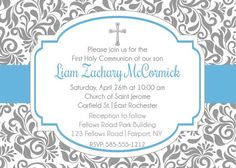 Boy First Holy Communion Invitation - Printable First Communion Invitation